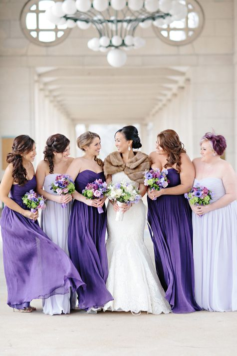Shades of Purple Bridesmaids Gowns | Lisa Hessel Photography | TheKnot.com