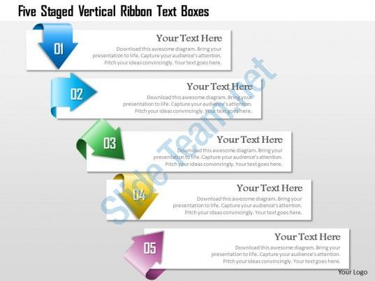 85 best work presentation ideas images on pinterest charts cowls 1214 five staged vertical ribbon text boxes powerpoint template toneelgroepblik Image collections