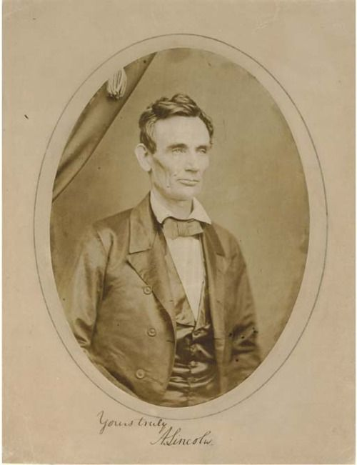 """ca. 1858, """"Yours Truly, A. Lincoln"""", [Portrait of a beardless Abraham Lincoln, probably taken in Peoria, Illinois], Roderick M. Cole"""