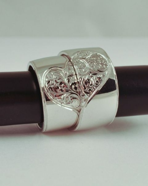 Ezüst karikagyűrű, összeilleszthető szíves , eMAekszer, meska.hu #silver #wedding #ring