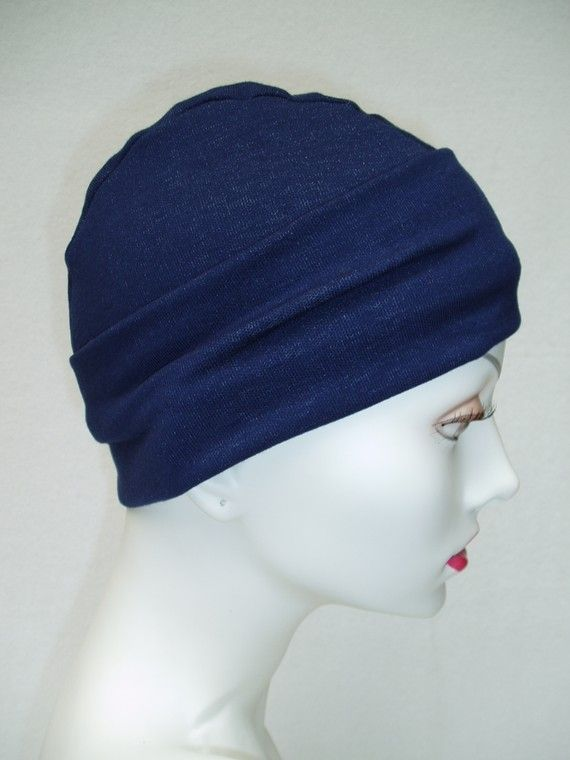 Blue Denim Chemo Hat Alopecia Cancer Sleep Cap by NinisNiche, $27.00