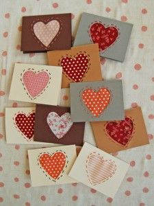 stitched heart gift cards - use fabric or vintage papers for heart