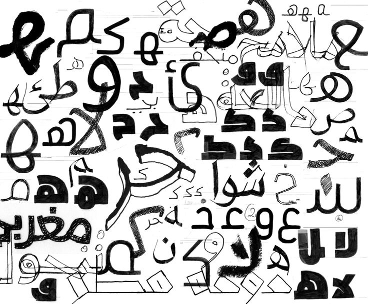 Arabic letters hand sketches collage from the past 8 years of type designing at 29LT.
