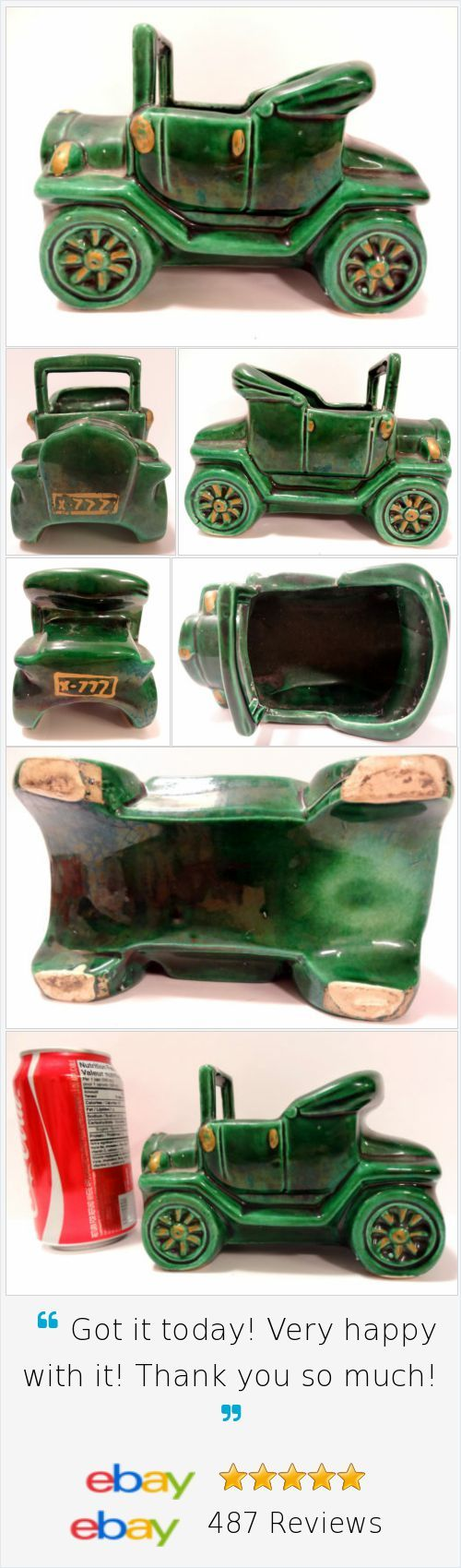 Vintage Planter Roadster Convertible Old Car Automobile Green Pencil Holder