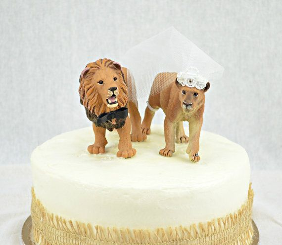 Lion Wedding Cake Topper Lions Lioness Bride by sherisewsweet