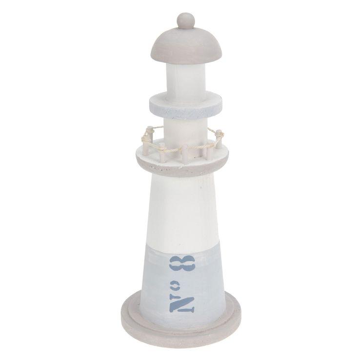 Vuurtoren gemaakt van hout in de kleur blauw. Op de toren staat op de zijkant een print met de tekst: N°8. Afmeting:8,5 x 8,5 x 22 cm. - Vuurtoren Hout - Wit