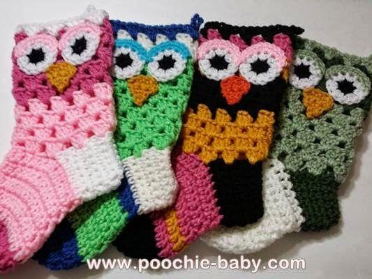 Poochie Baby Crochet Designs: How I Start My Crochet Owl Stockings ...