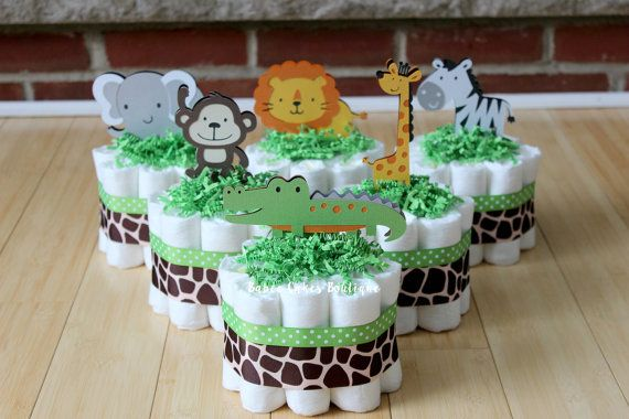 Mini Jungle Diaper Cakes SET OF 6 Safari by BabeeCakesBoutique