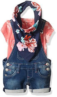 Baby Girl Clothes True Religion Girls' 3pc Overall Set, Fuchsia, 6 Months
