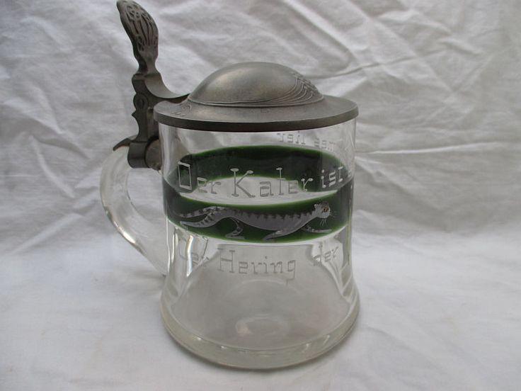Jugendstil Glas Bierkrug um 1900 Kater Hering Schnee / Email malerei Sinnspruch | Antiquitäten & Kunst, Glas & Kristall, Sammlerglas | eBay!