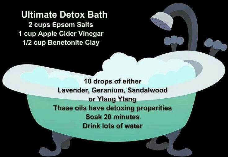 ultimate detox bath with Epsom salt, apple cider vinegar, benetonite clay and essential oils