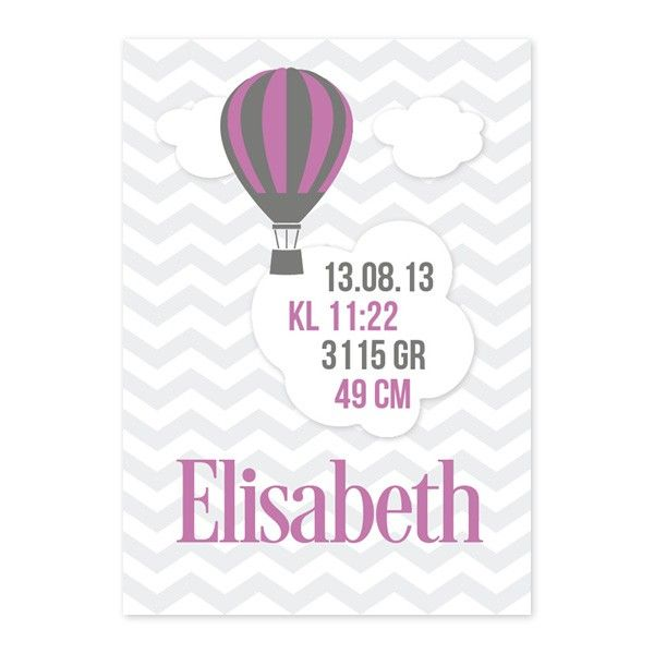 Fødselsplakat - Luftballong Rosa - Nei - KidsParadise - Nettbutikken KidsParadise.no