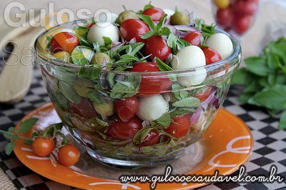 Salada de Tomate com Manjericão » Receitas Saudáveis, Saladas » Guloso e Saudável