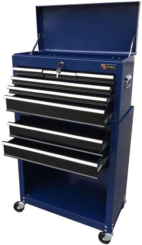 Tool Chest Roller Cabinet Combo Black Garage Organizer Home 24x