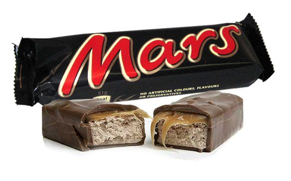 Mars Bar or we could do Milky Way. Can't buy Mars Bars anymore in the stores, they are my favorite candy bars .