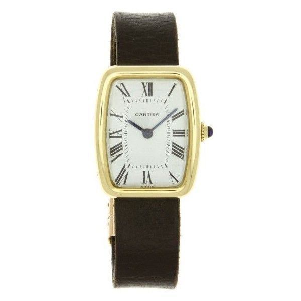 Pre-owned Cartier Paris Tortue 18K Yellow Gold & Leather Manual... (226.455 RUB) ❤ liked on Polyvore featuring jewelry, watches, gold jewellery, vintage wrist watch, white dial watches, gold watches and 18k gold watches