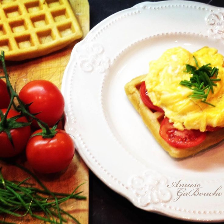 Homemade Waffle with Scrambled Eggs