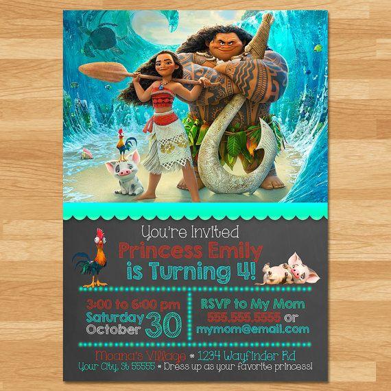 Invitación pizarra invitan a Moana por cupcakeconspiracies