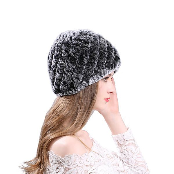 Womens Classic Rex Rabbit Fur Beanie Winter Warm Stripe Hats at Banggood