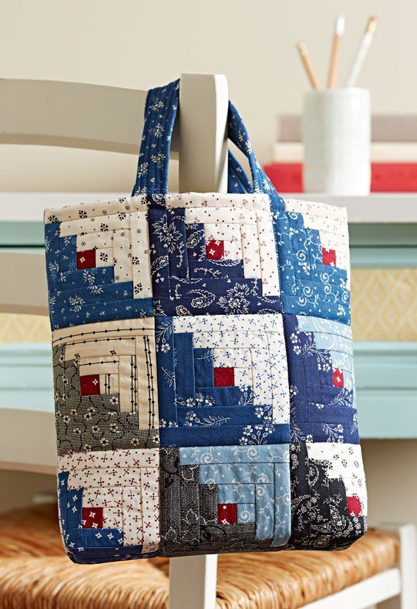 "You can create this scrappy Log Cabin tote from 5"" squares in a weekend's time! Fabrics are from the Vintage Shirting & Dress Prints 1880–1910 collection by Barbara J. Eikmeier for Paintbrush Studio [1]. [1] http://fabri-quilt.com"