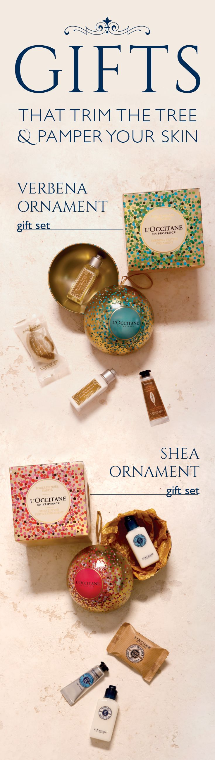 These decorative gifts look as luxurious as the goodies inside feel. It's the perfect treat for a teacher or coworker, and if you're hosting this holiday, these ornaments make great party favors for family and friends! Whether it's the soothing moisture of shea or the vibrant, citrus scent of verbena, they'll love L'Occitane for their skin—and the ornament for their holiday decor, too.