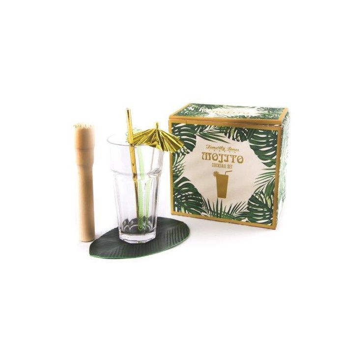 Temerity Jones Mojito Tropical Cocktail Gift Set: What better way to start the Summer season then with this Mojito Tropical Cocktail Gift Set.  This classic kitsch cocktail set is perfect for any party and comes complete with –  x 2 Mojito Glasses X 2 Gold Paper Straws X 2 Leaf Coasters  X 2 Gold Cocktail Umbrellas X 2 Palm Tree Stirrers X 1 Wooden Muddler  Comes gift boxed so perfect for a present.