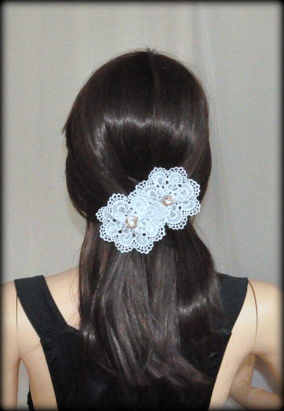 Set of 3 hair pins White Lolita hair pins gothic hair pins