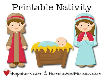 FREE printable nativity set. Hands on fun with the Christmas story for your kids. From thepelsers.com and homeschoolmosaics.com.