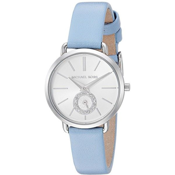 Michael Kors MK2733 - Portia (Blue) Watches ($150) ❤ liked on Polyvore featuring jewelry, watches, michael kors jewelry, quartz movement watches, analog wrist watch, blue watches and analog watches
