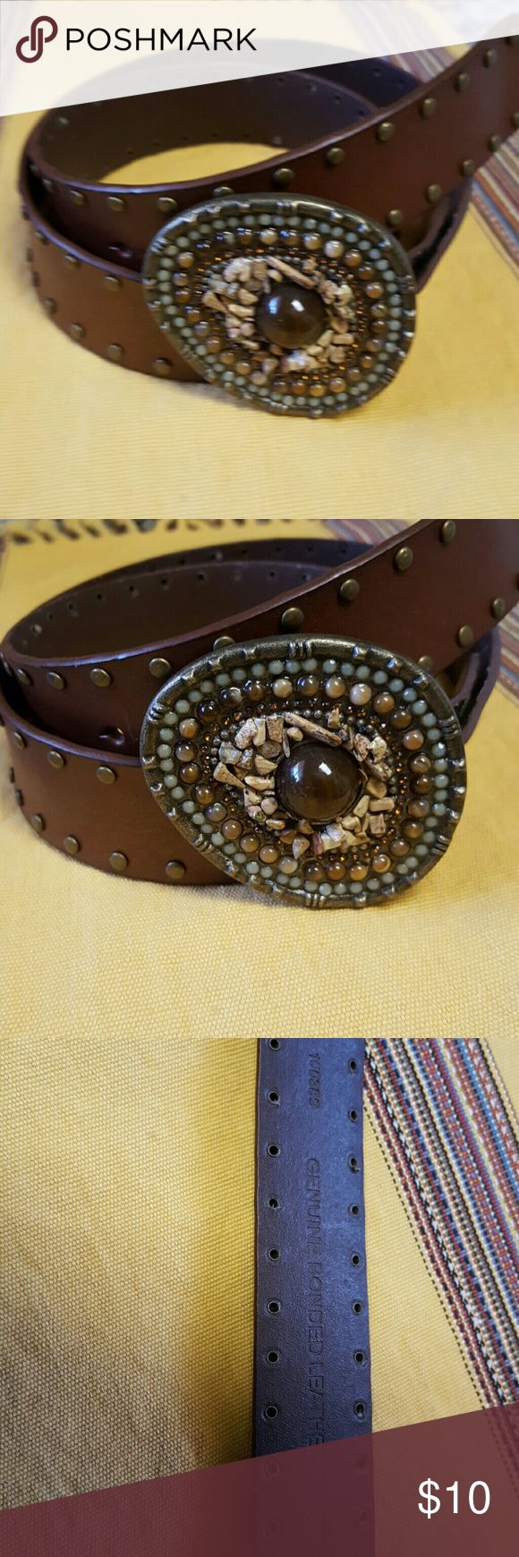 Western Embellished Leather Belt Retro western-style belt in genuine leather with bronze grommets! Big chunky belt buckle with real and faux stones. Fits adjustable 34 to 38 in. Never worn, looks like brand new! Accessories Belts