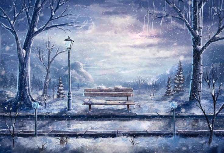 Original Snow Winter Anime Tree Bank Anime Scenery Winter Art Anime Wallpaper