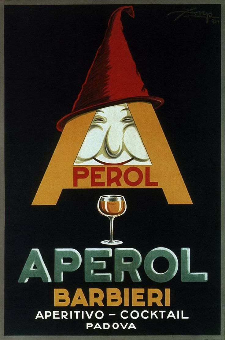 Aperol - barbieri, aperitivo - cocktail. Vintage Italian Posters of wine