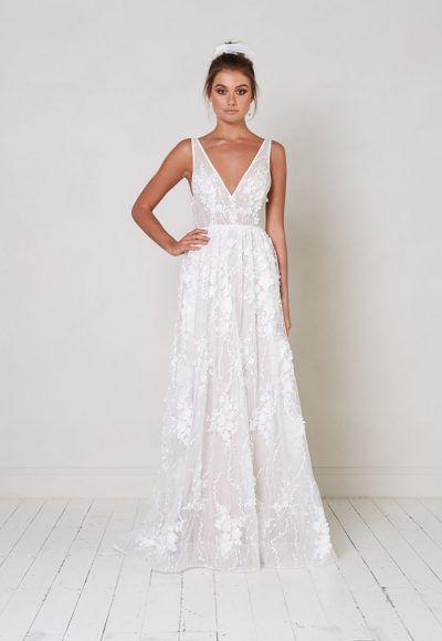 Sleeveless V-neck A-line Wedding Dress With Floral Appliqués | Kleinfeld Bridal