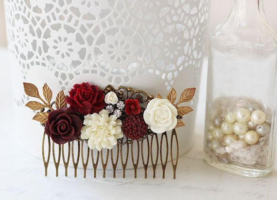 Burgundy Roses Hair Comb  Vintage Style Tuck this stunning burgundy roses hair comb to into your updo, or to sweep back your hair. The colors of burgundy, wine and cream are also perfect for a fall wedding hair accessory or as a rustic wedding hair comb. This vintage style wedding hair comb has modern styling and makes a special gift for members of the wedding party. Whenever you want to feel romantic and pretty, for any special occasion is the perfect time for a floral hair comb.