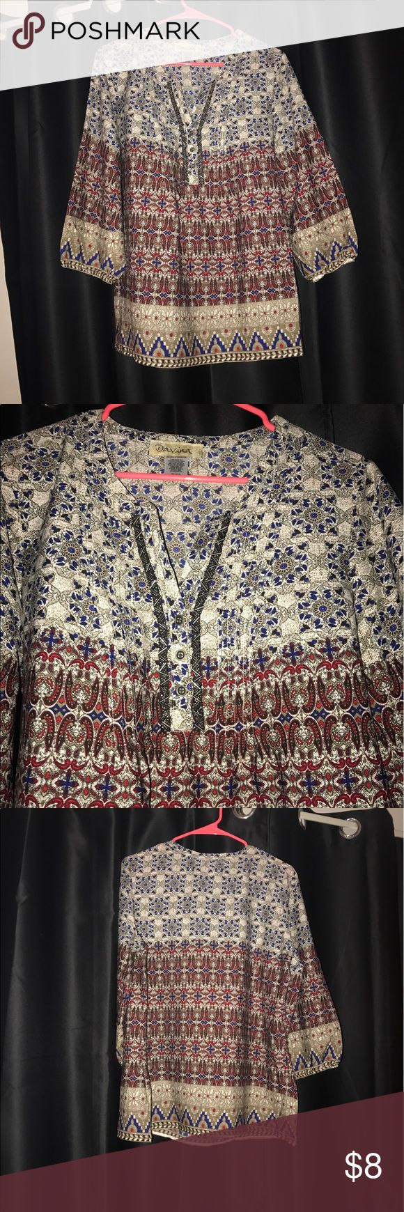 Aztec Blouse with beaded collar Never been worn! Women's size L, lightweight material Tops Blouses