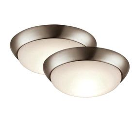 Project Source 2-Pack 11-in W Brushed Nickel LED Ceiling Flush Mount Lights