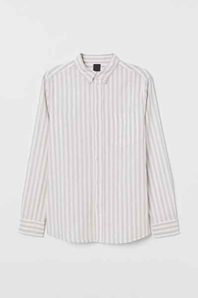 2437a60b32 Slim Fit Linen-blend Shirt in 2019 | j | Shirts, Light beige, Mens tops
