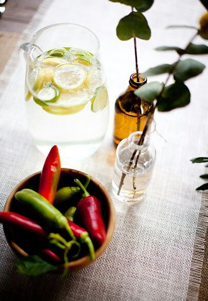 Chili pepers and lemon infused water