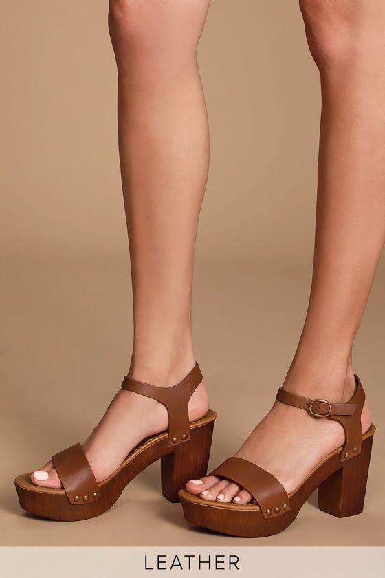137ef265db8 Lulus   Luna Tan Leather Wooden Platform Sandal Heels   Size 8.5 in ...