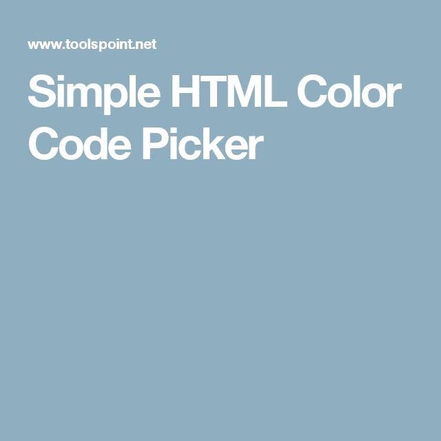 Simple HTML Color Code Picker