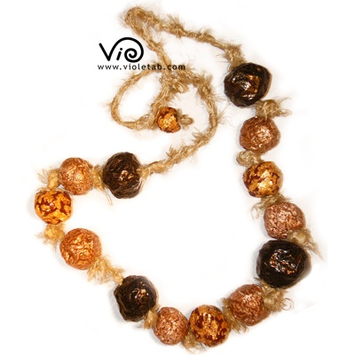 silk and paper ball necklace $42