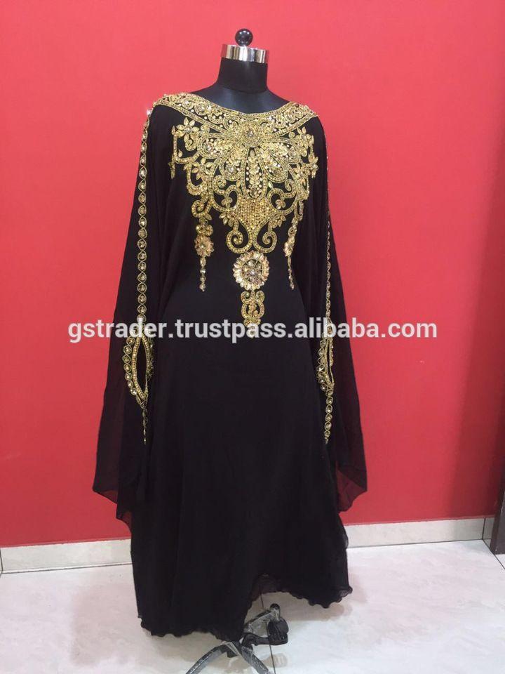 Golden Pattern Black Wedding Party Wear abaya High beaded Flower Pattern Farasha with Belt moroccan kaftan dress abaya for sale