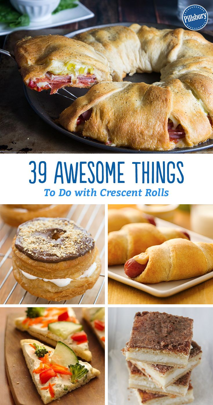 Here's 39 awesome things to do with crescent rolls! It all started with a humble (flaky, buttery, golden) dinner roll. Out of literally hundreds of recipes, we picked 39 of our favorite things to do with always-versatile crescents. Each meal from breakfast to dinner is covered and you're sure to be inspired for your next meal.