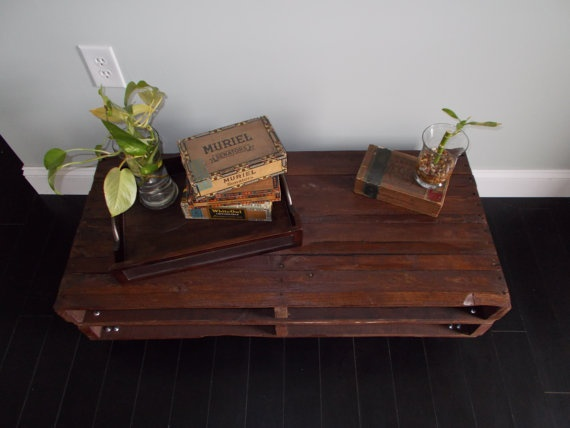 DREAMY TABLE!! Would love to put my teacup down there.   Conoco Phillips Dark Stained Pallet Coffee Table by RustyLantern on Etsy