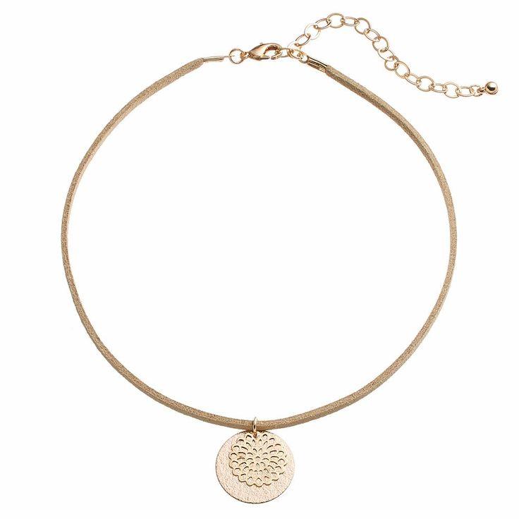 Apt. 9® Filigree Flower & Textured Disc Pendant Choker Necklace, Women's, Brown