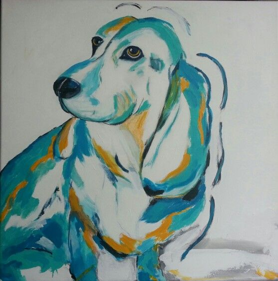 Hond Droef 50 x 50 acrylverf op 3D doek  kunst paint by Angelique