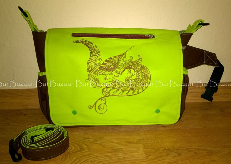 Giant (maxi) 2in1 bag for baby carrying with hand painted phoenix motif.