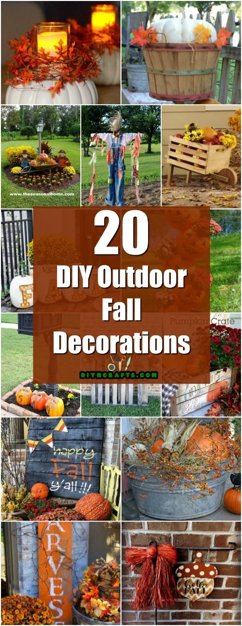 20 DIY Outdoor Fall Decorations That'll Beautify Your Lawn And Garden - Easy diy projects! via @vanessacrafting