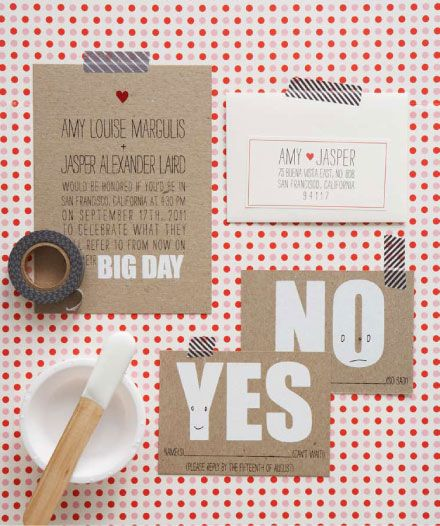 These wedding invites are perfectly simple and unequivocally sweet. Love the idea of a Yes or No postcard to send back, ready addressed, with a few 'words to the bride and groom' on the back