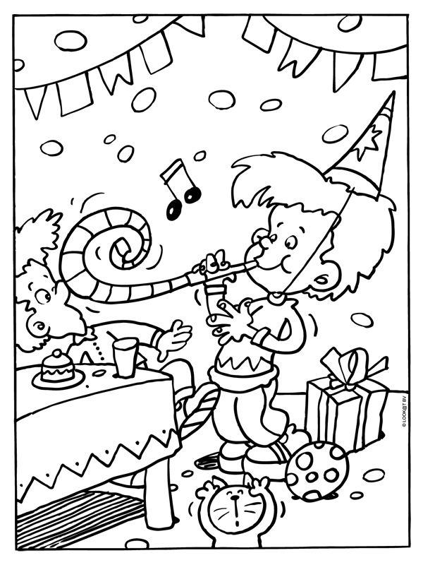 kleurplaat feest verjaardag slingers kleurplaten nl